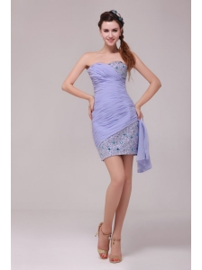 Column Lavender Sweetheart Beading and Ruching Prom Dress