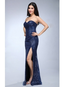 Column Navy Blue Sweetheart Sequins Floor-length High Slit Prom Dress