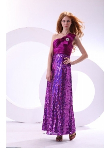 Column One Shoulder Purple Ankle-length Sequins Paillette Prom Dress