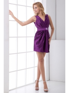 Column Purple V-neck Mini-length Taffeta Ruching Prom Dress