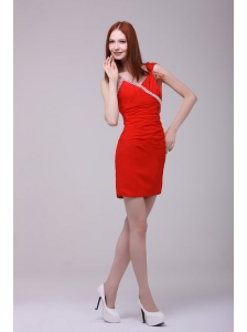 Column Red Asymmetrical Mini-length Beading Prom Dress with Chiffon