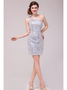 Column Sliver One Shoulder Sequins Mini-length Prom Dress