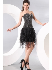 Column Sweetheart Black Beading and Ruffles Prom Dress for Party