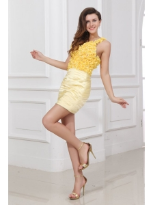 Column V-neck Ruching and Hand Made Flowers Mini-length Criss Cross Prom Dress