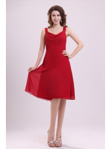 Empire Straps Ruching Chiffon Knee-length Wine Red Prom Dress