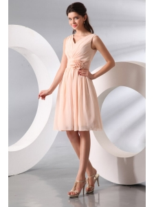 Empire V-neck Champagne Hand Made Flower Ruching Short Prom Dress