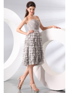 Gray Ruffled Layers Sweetheart Prom Dress with Knee-length