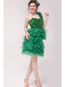 Green A-line One Shoulder Sequins and Ruffles Prom Dress