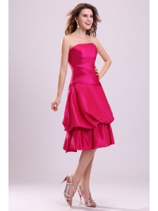 Hot Pink A-line Strapless Prom Dress with Knee-length