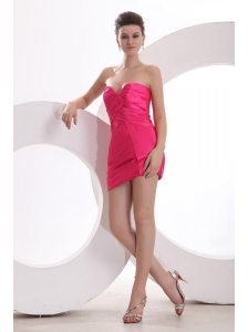Hot Pink Sweetheart Ruching Mini-length Prom Dress