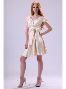 Light Yellow V-neck Cap Sleeves Bow Ruching Prom Dress