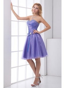 Lovely A-line Sweetheart Knee-length Organza Beading Lace Up Lavender Prom Dress