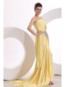 New Column Strapless Ruching Yellow Chiffon Prom Dress with Brush Train