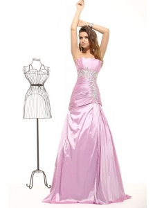 Pretty A-line Strapless Pink Floor-length  Taffeta Prom Dress with Beading