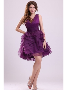 Pretty Purple V-neck Prom Dress with Ruffled Layers Mini-length