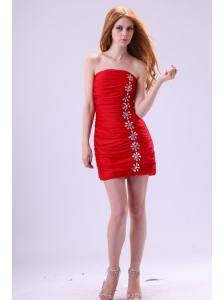 Red Column Strapless Mini-length Beading Taffeta Prom Dress with Beading
