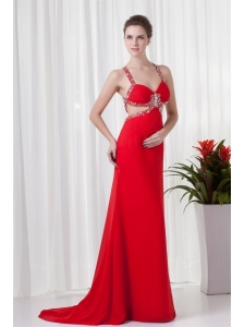 Red Column Straps Brush Train Chiffon Beading Criss Cross Prom Dress