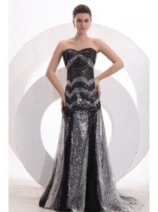 Sexy Mermaid Sweetheart Sequins Brush Train Black 2014 Spring Prom Dress