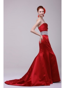 2014 Spring Mermaid Brush Train Beading and Ruching Affordable Prom Dress with Strapless