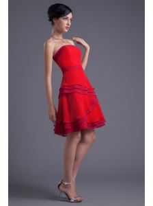 A-line Red Strapless Mini-length Chiffon Ruching Prom Dress