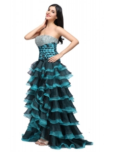 A-line Strapless Black and Blue Ruffled Layers Organza Beading Prom Dress