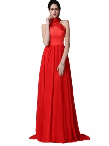 Empire Halter Top Ruching Red Chiffon Prom Dress
