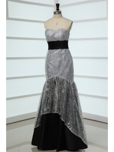 Mermaid Sweetheart Grey Sequins Fitted Prom Dress