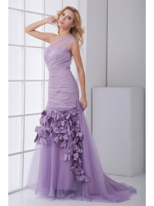 New One Shoulder Lilac Ruching Brush Train Organza Prom Dress with Side Zipper