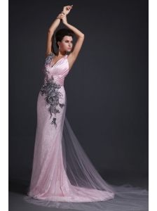Pink Column V-neck Lace Brush Train Prom Dress with Appliques