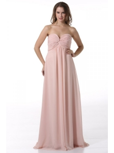 Simple Baby Pink Sweetheart Ruching Floor-length Chiffon Prom Dress