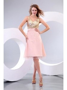 2013 Empire V-neck Sequins Knee-length Prom Dress