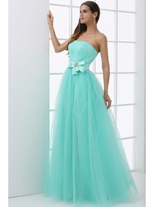 A-line Baby Blue Strapless Sash Beading Tulle Prom Dress