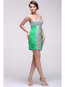 Beaded Sexy Mini-length Green Prom Dress with Side Zipper