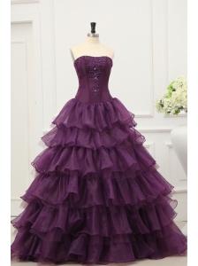 Dark Purple Strapless Beading and Ruffles Layered Quinceanera Dress