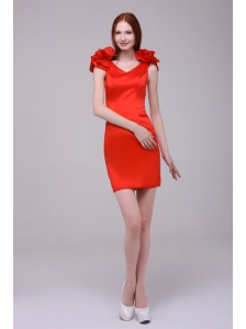 Red Column V-neck Hand Made Flowers Mini-length Prom Dress