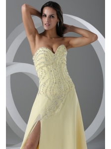 Sweep Train High Slit Light Yellow Prom Dress with Beading