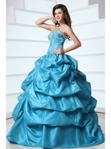 Sweetheart Appliques and Pick-ups Taffeta Quinceanera Dress in Teal