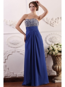 Sweetheart Chiffon Beading and Rhinestone Empire Prom Dress in Blue