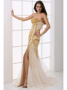 Sweetheart Column Champagne Beaded Decorate Prom Dress