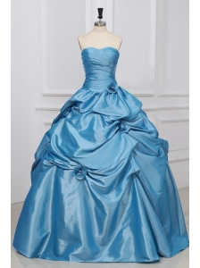 Sweetheart Hand Made Flowers Taffeta Quinceanera Dress in  Light Blue