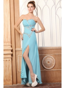 Sweetheart Light Blue Beading and High Silt Prom Dress with Chiffon