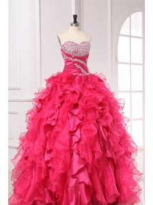 Sweetheart Long Hot Pink Quinceanera Dress with Beading and Ruffles