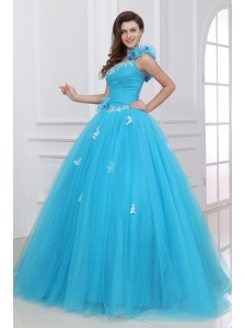 Aqua One Shoulder Appliques and Hand Made Flowers Quinceanera Dress