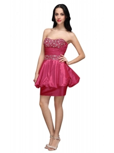 Column Hot Pink Strapless Beading Mini-length Prom Dress