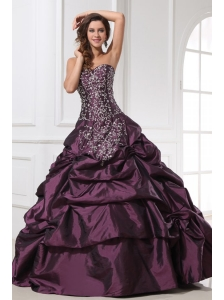 Dark Purple Sweetheart Appliques with Beading Quinceanera Dress