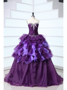 Dark Purple Sweetheart Beading and Ruffles Sweet Train Quinceanera Dress