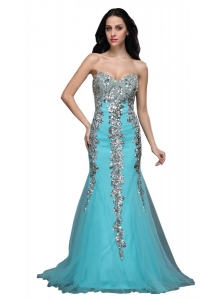 Mermaid Sweetheart Appliques Light Blue Brush Train Prom Dress