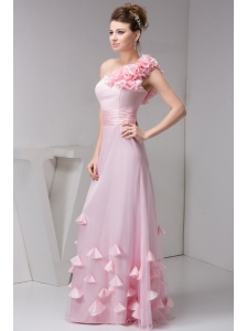 One Shoulder Floor-length Pink Organza Hand Made Flowers Prom Dress