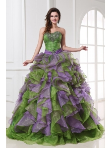 Organza Sweetheart Beading and Ruffles Quinceanera Dress in Multi-color