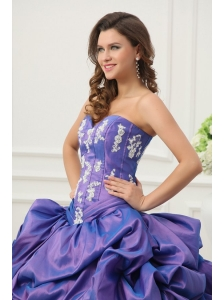 Purple Sweetheart Appliques and Pick-ups Taffeta Quinceanera Dress